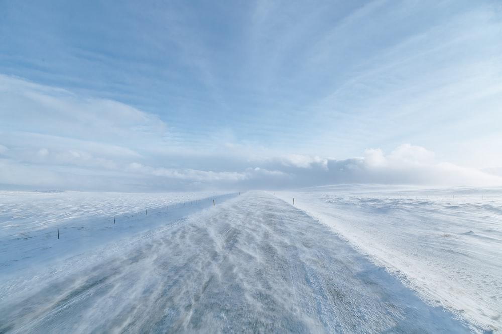 snow road at daytime