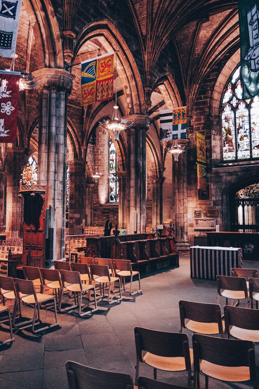 chairs near altar in the church