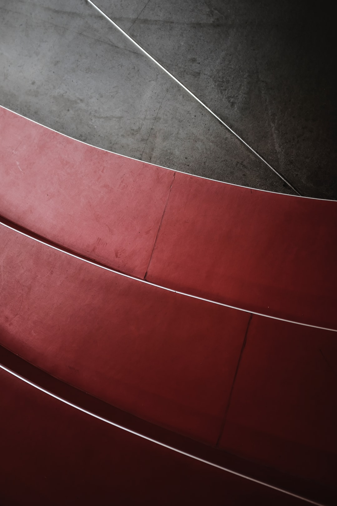 Red graphic staircase and concrete