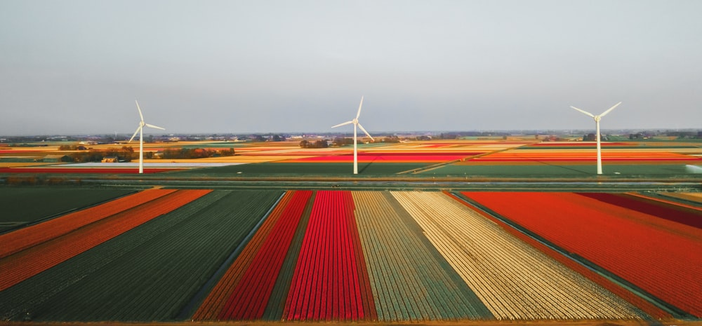 high-angle photography of three wind mills