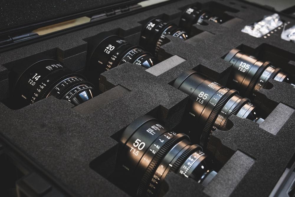 black camera lens lot