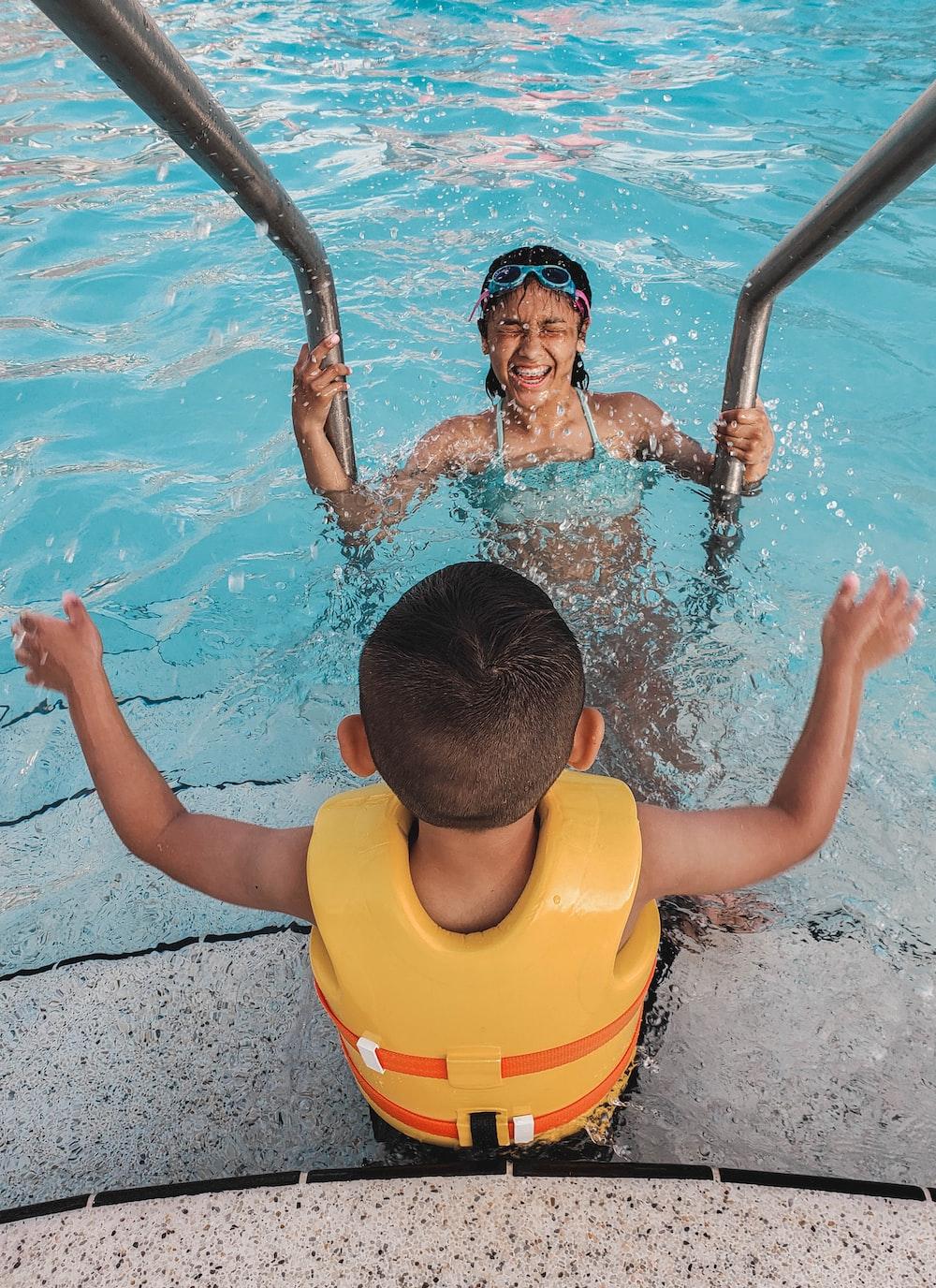 toddler in swimming pool