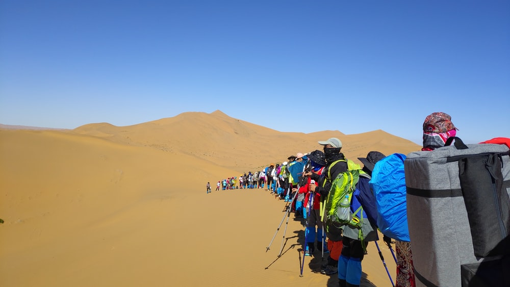 group of person on dessert area under blue sky