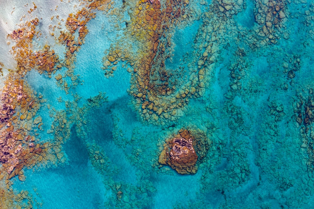 aerial photography of rock formation