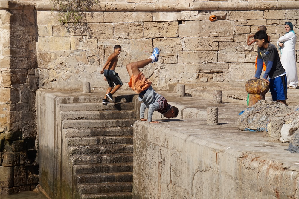 people near wall