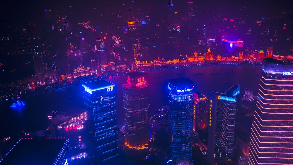 high-angle photography of city during nighttime