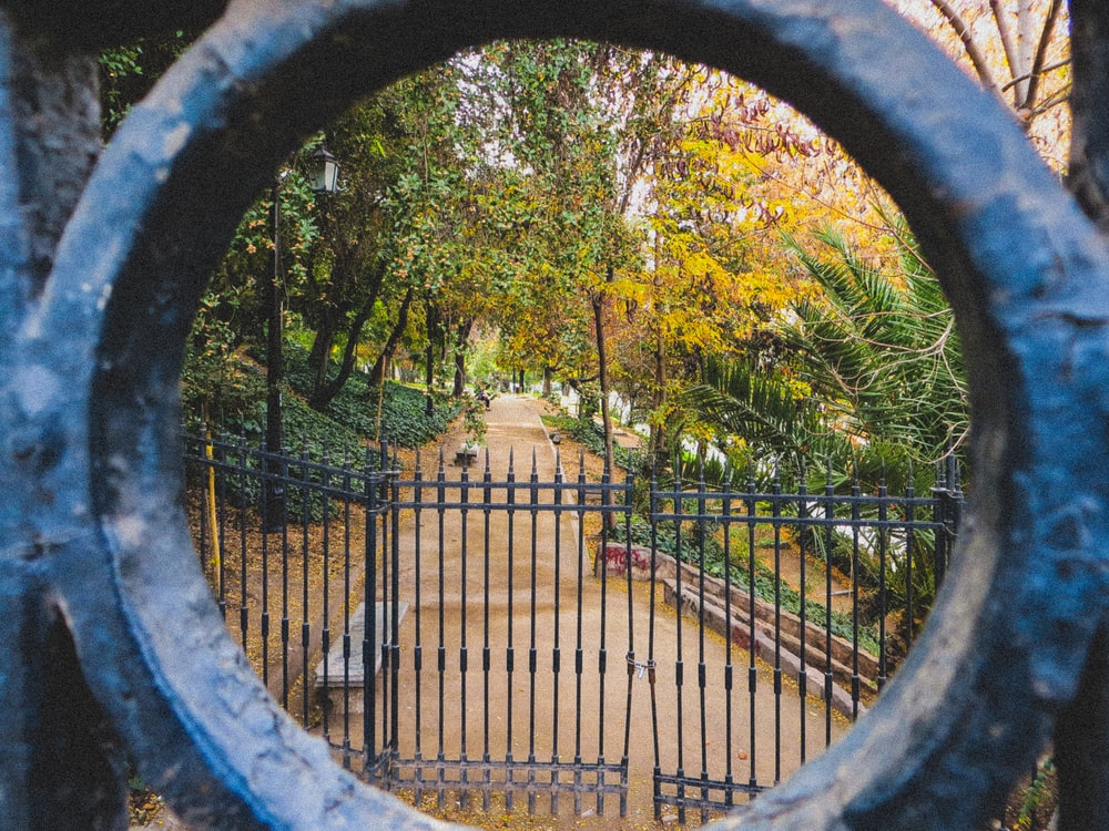 grey metal gate