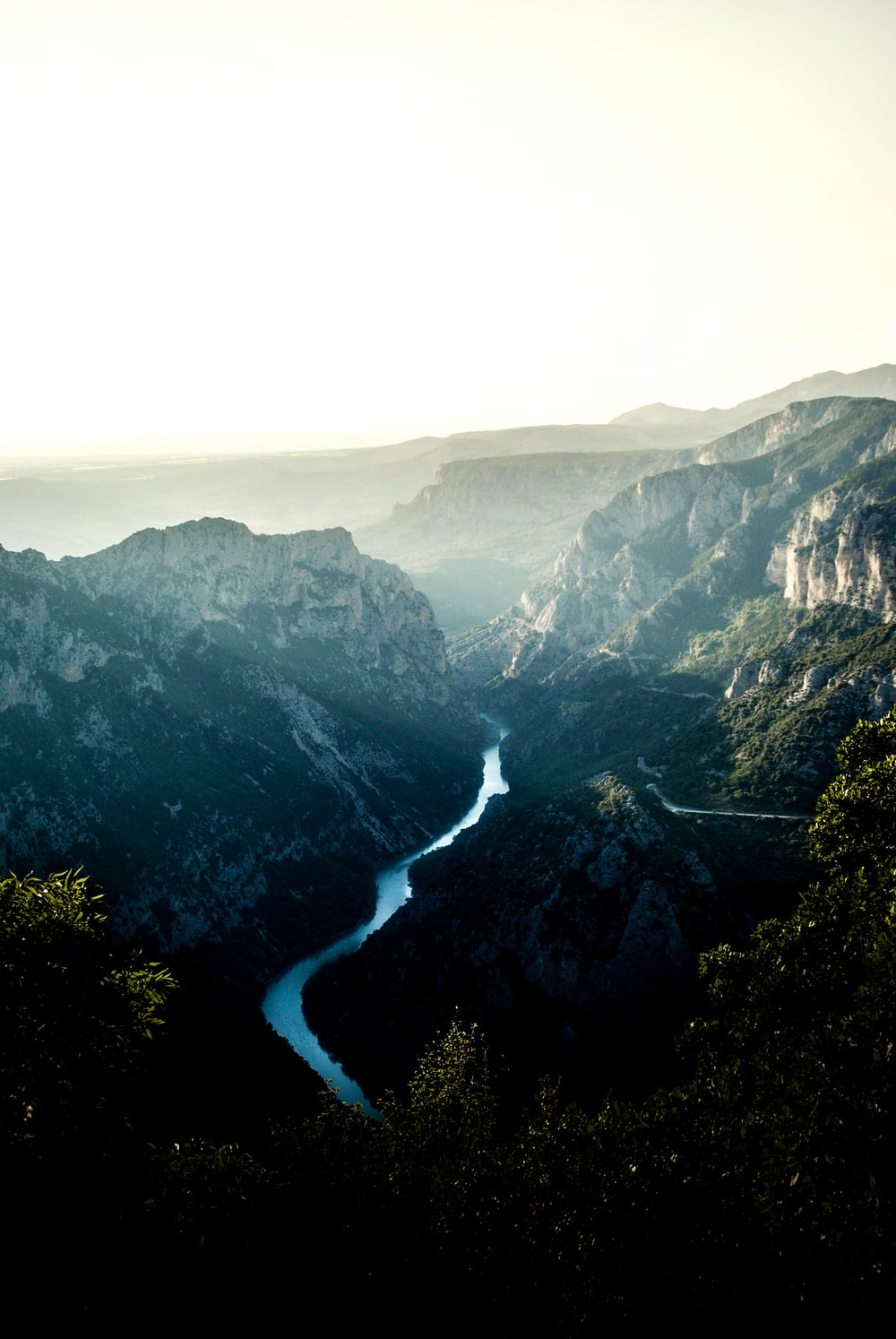 mountains and river during day