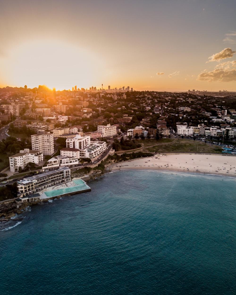 aerial view of hotel resort beside beach