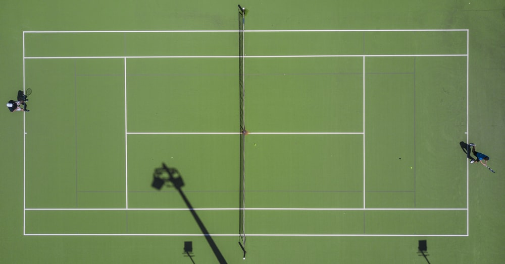 high angle photography of sports field
