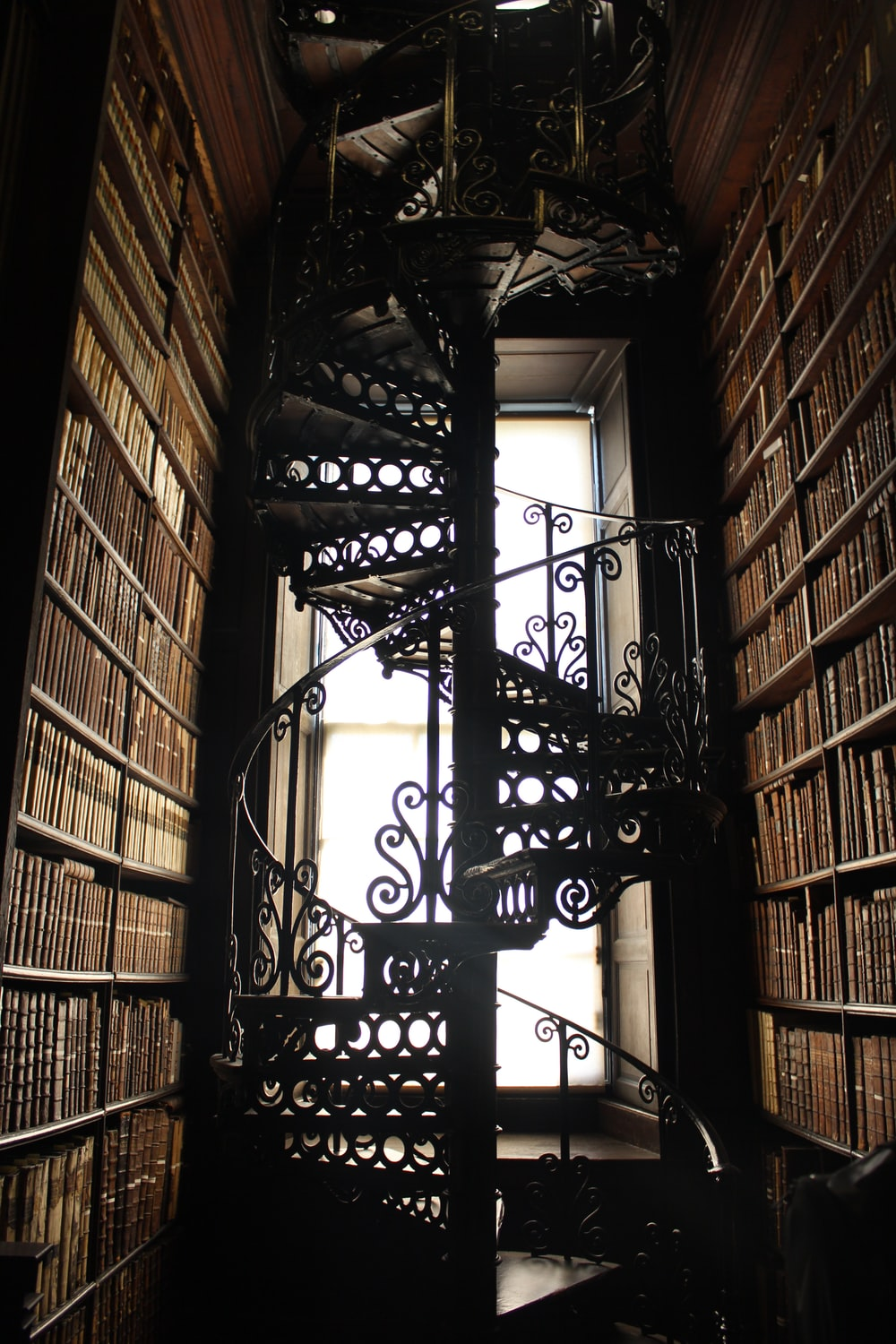 black metal spiral stairs