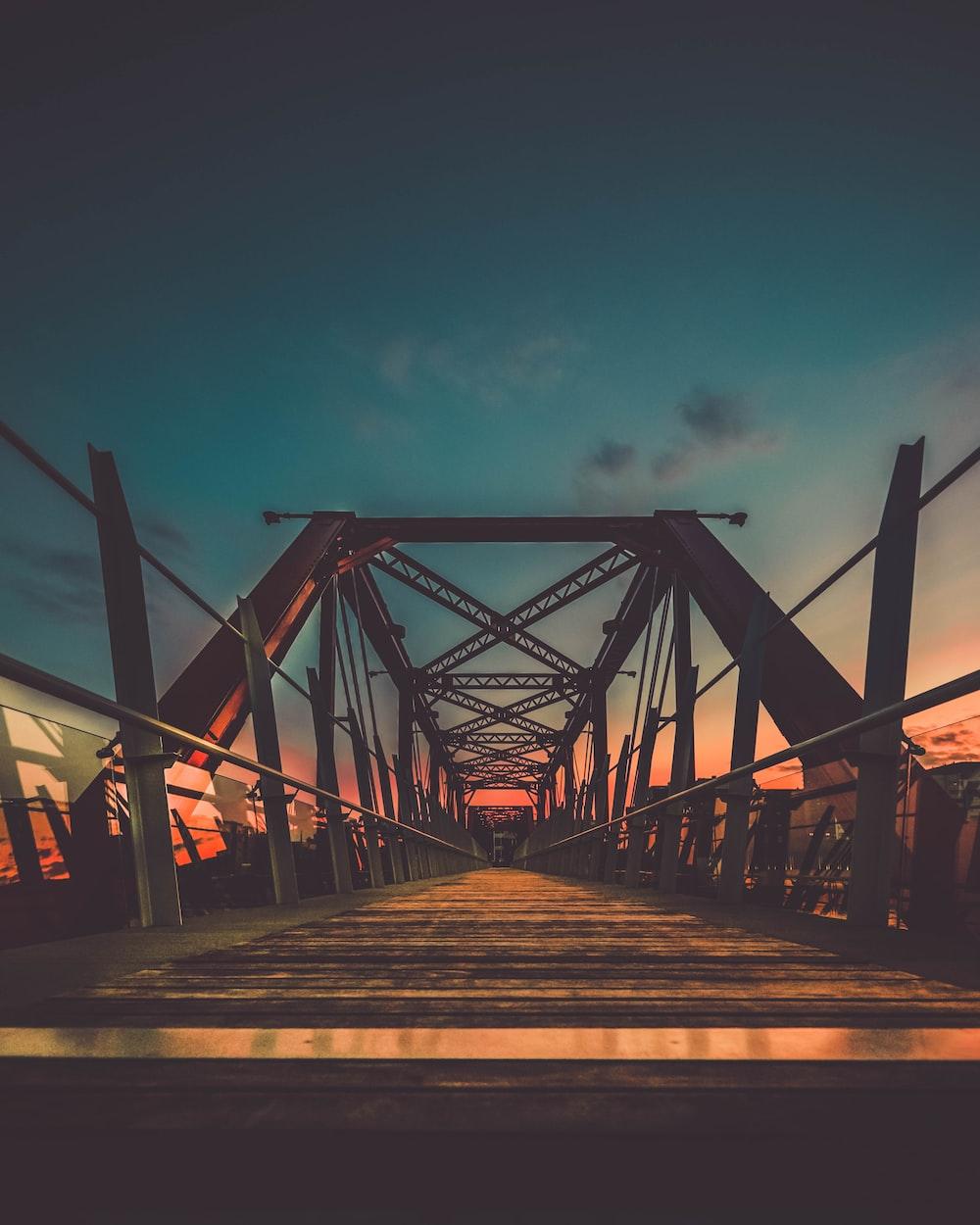 brown steel bridge with no vehicle