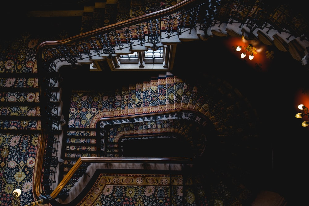 brown and black stairs