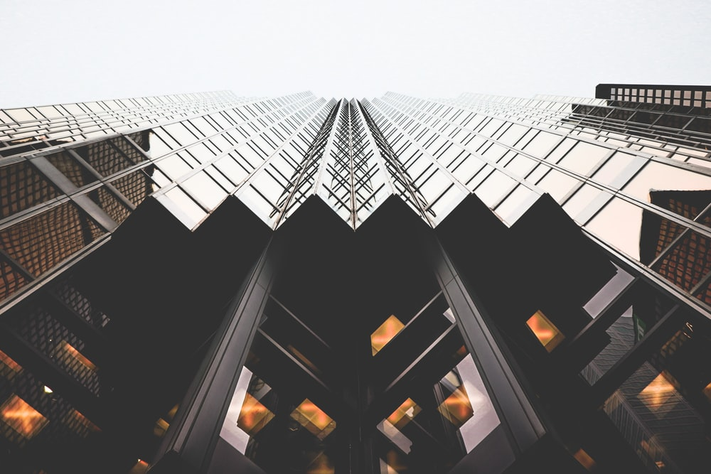 low angle view of glass high-rise building