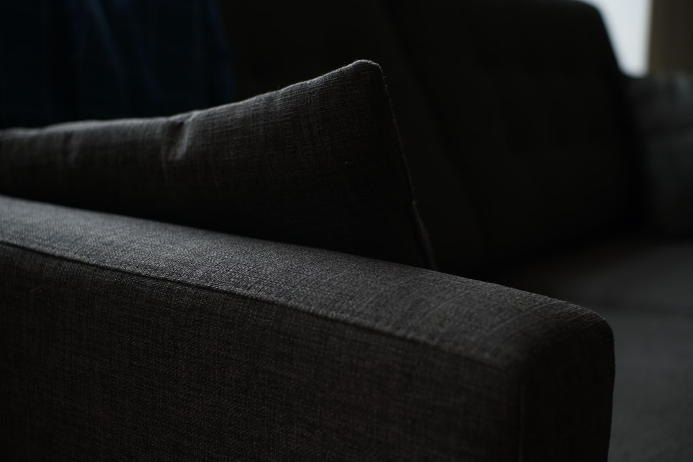 grayscale photography of sofa