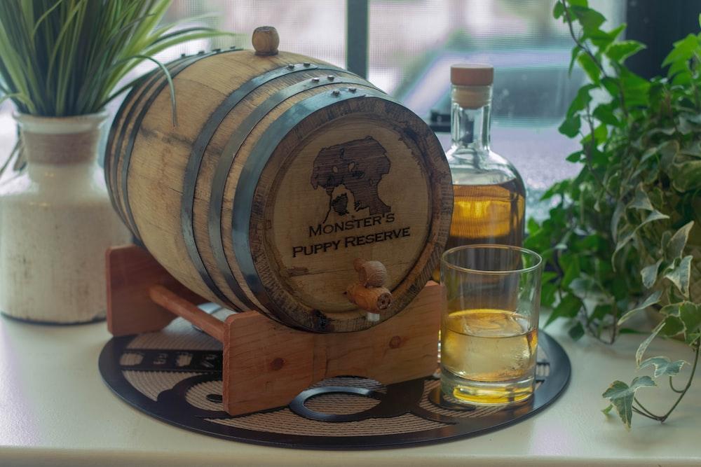 brown beer barrel