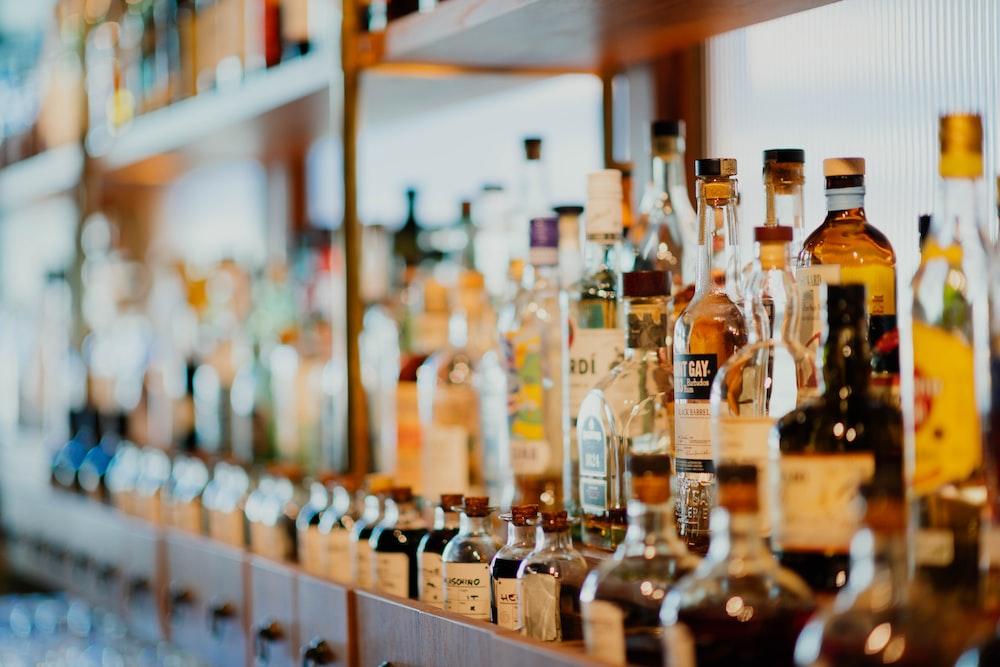 liquor bottles on rack