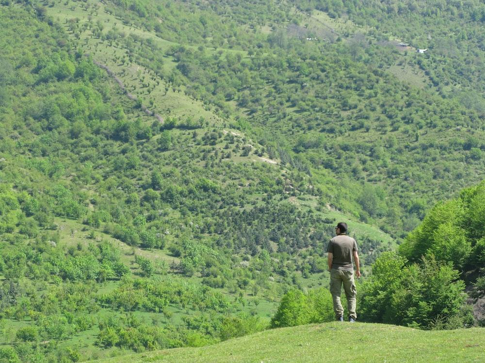 man standing overlooking green mountain