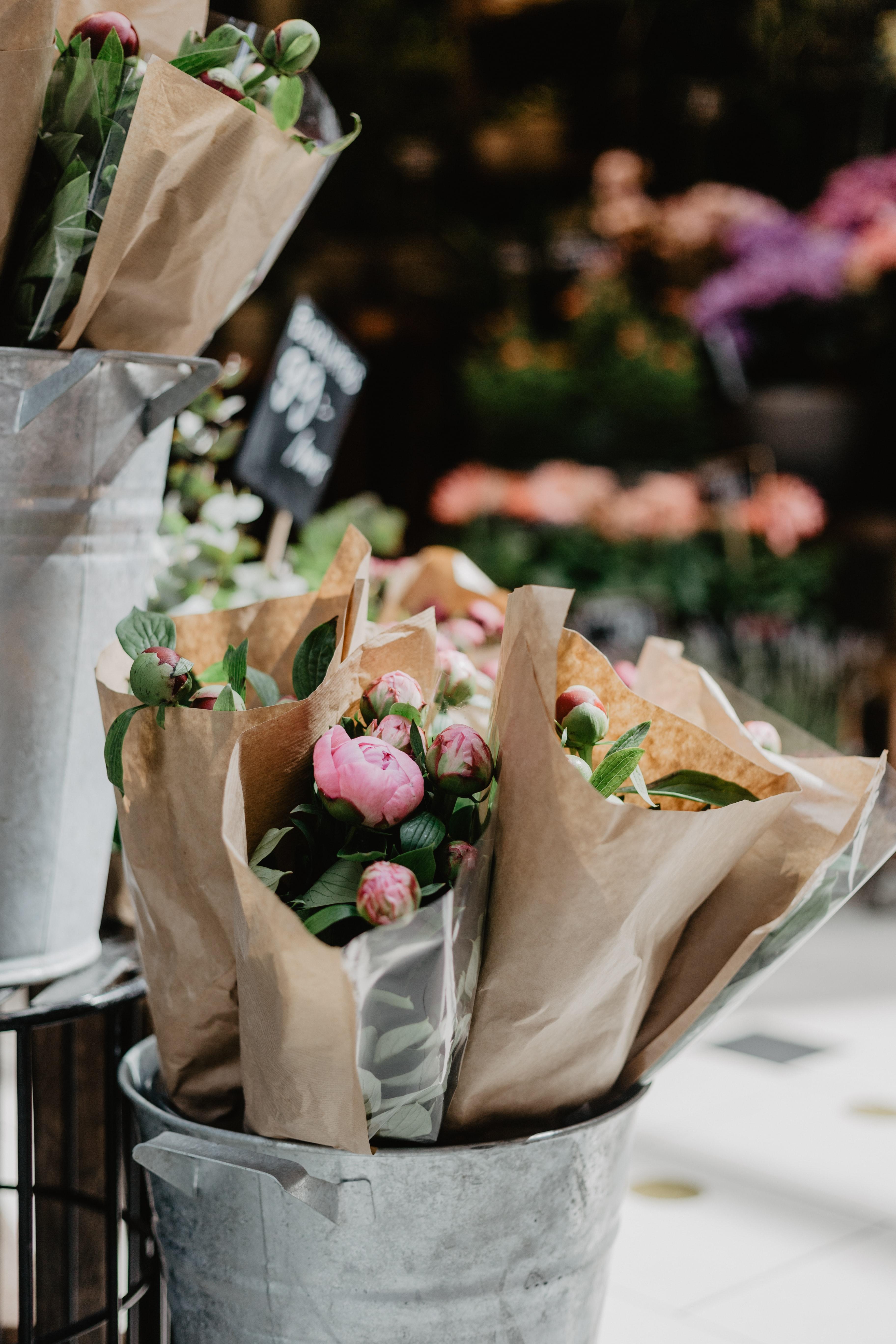 Pink Flower Bouquets On Bucket Photo Free Plant Image On Unsplash