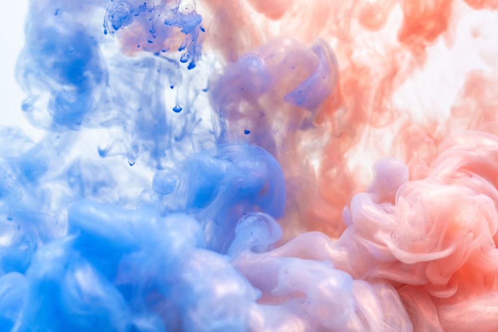 pink and blue smoke
