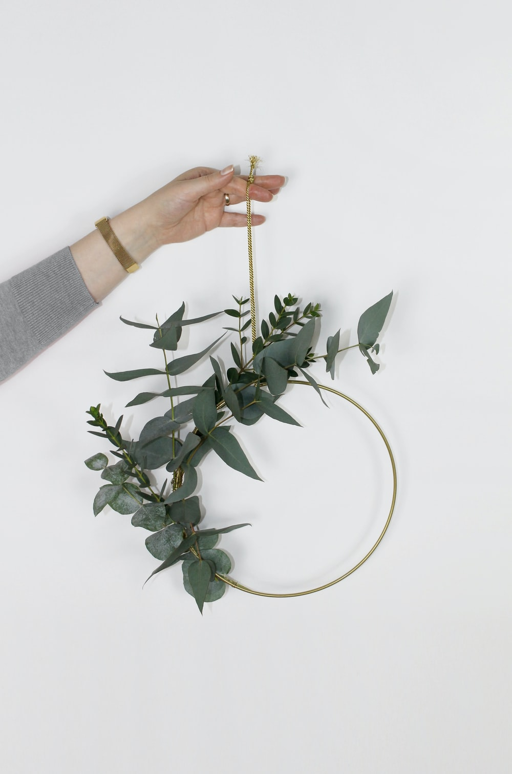 green hanging leaf decor
