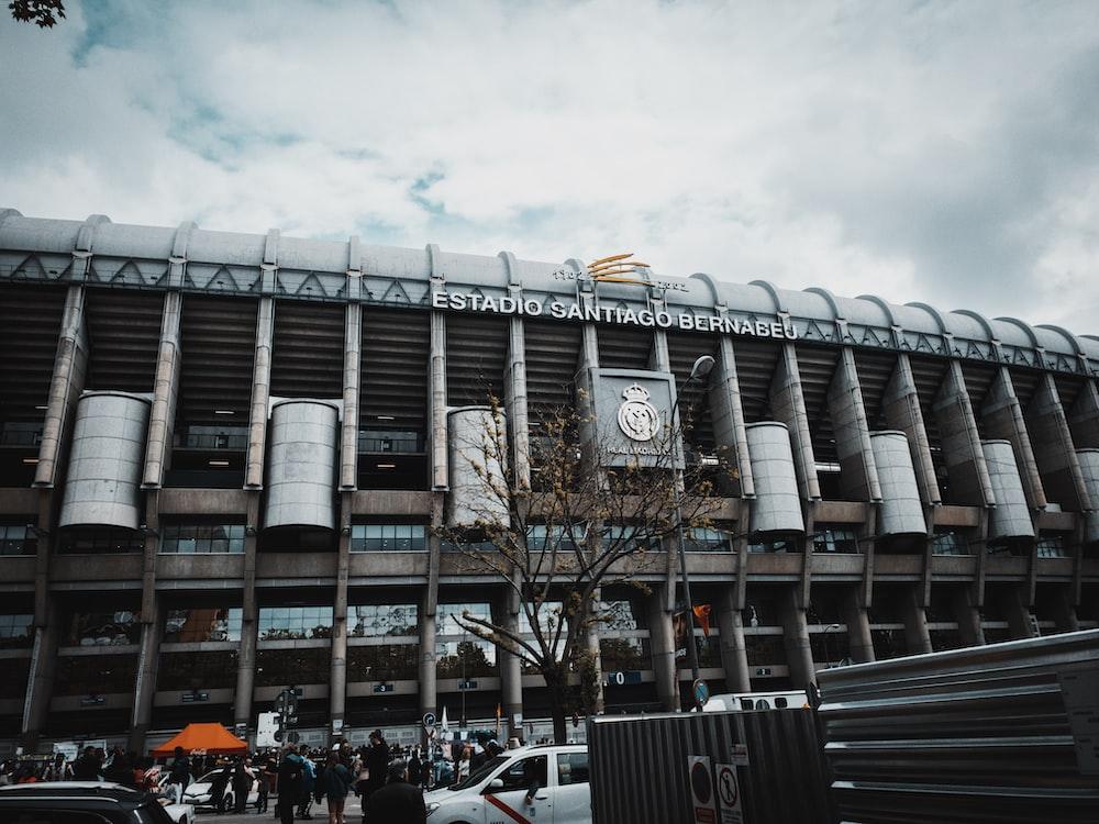 Santiago Bernabéu Stadium, Paris under cloudy sky