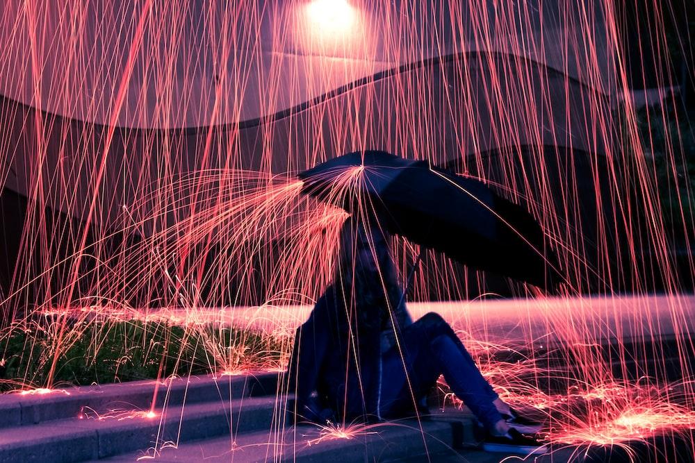 woman using umbrella on rain