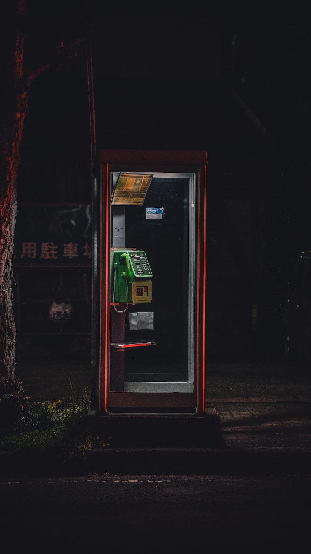 green telephone machine