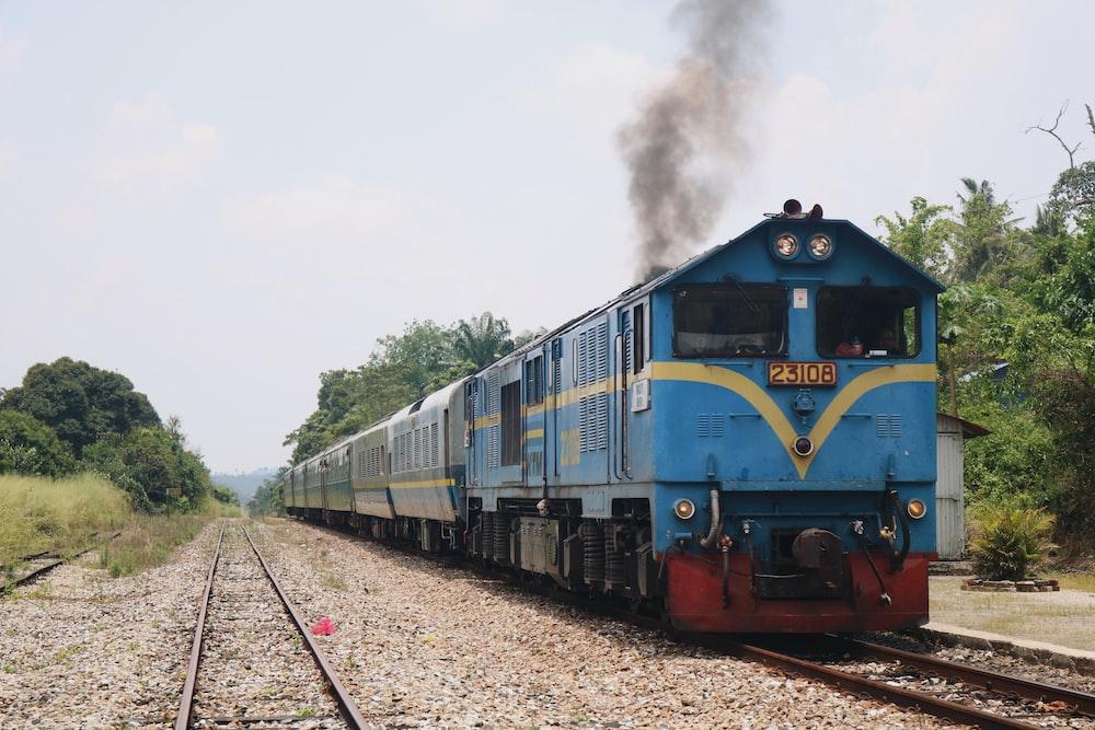 blue train at daytime