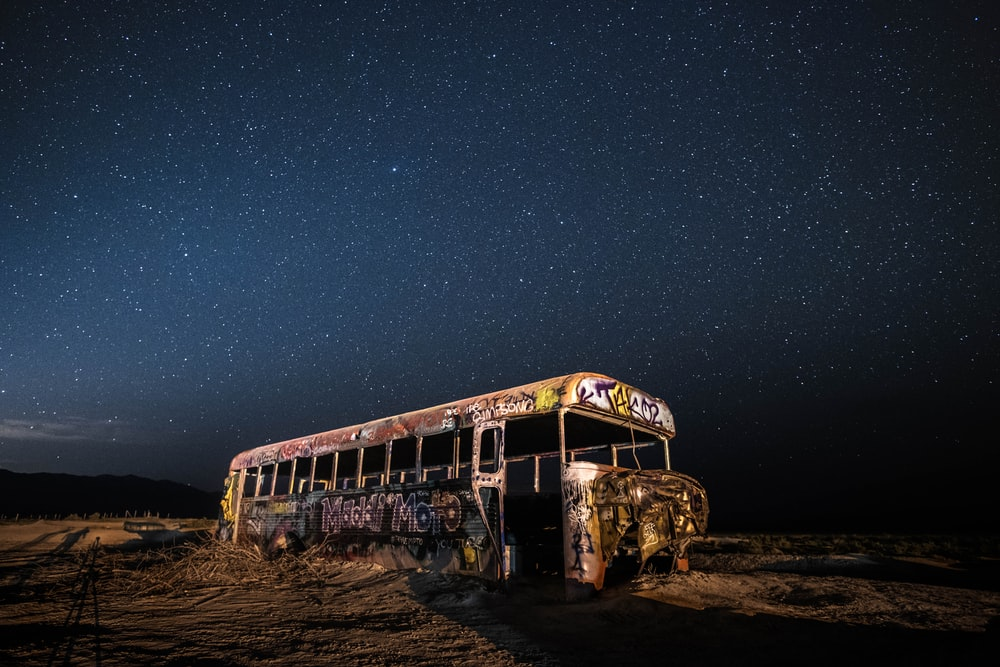 yellow bus on dessert