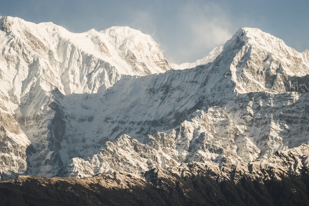 white ice covered mountain during daytime