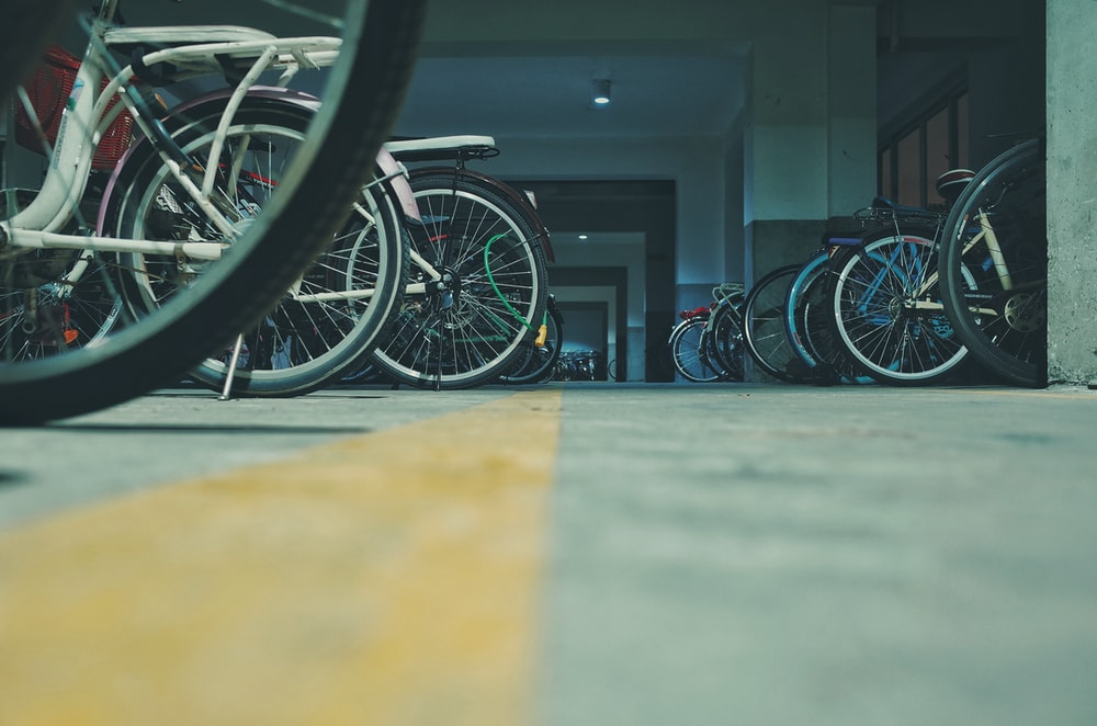 parked bicycle lot