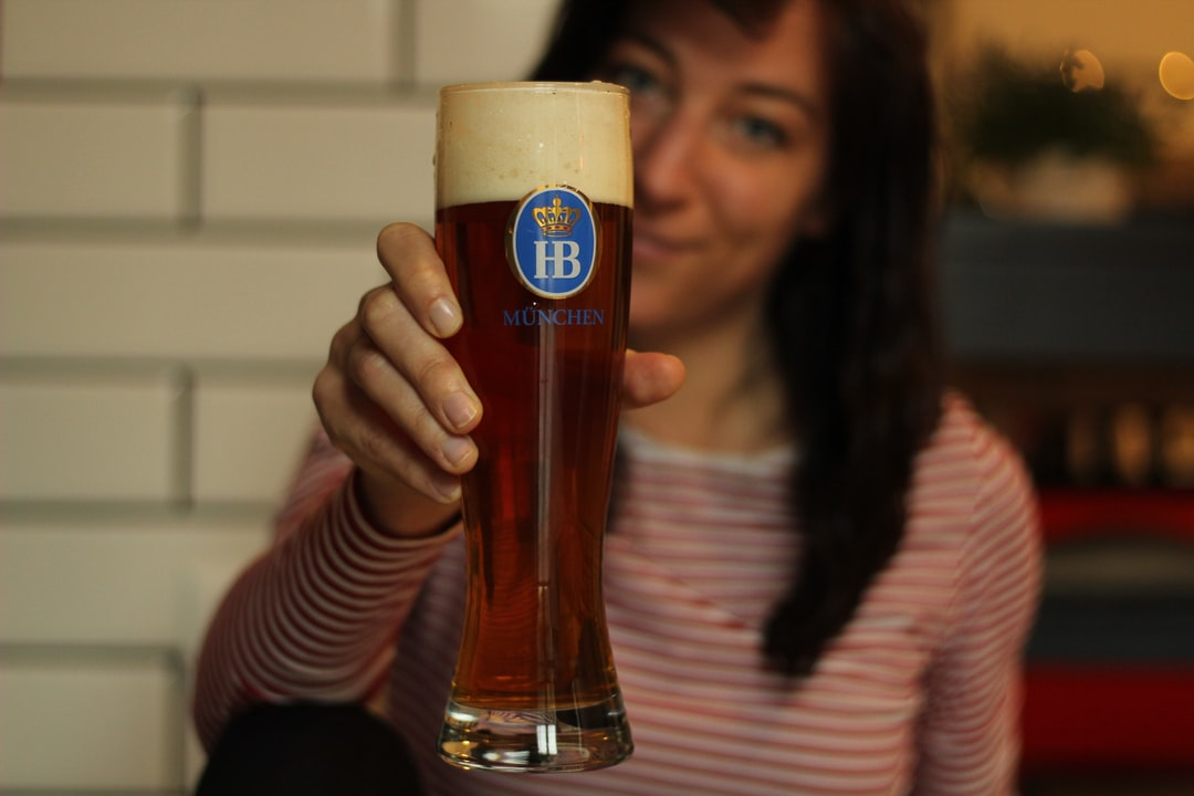 monica with a beer