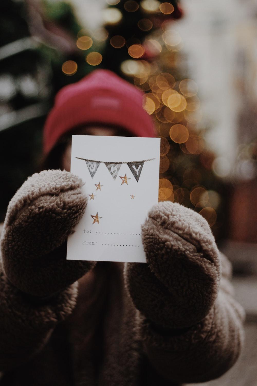 white star print card