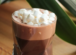 chocolate with marshmallows on top in drinking glass