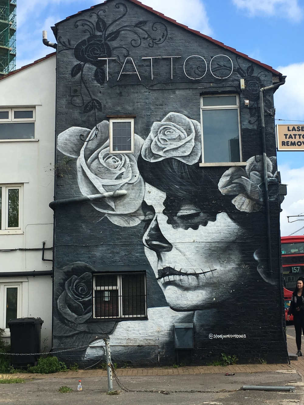 black and white painted tattoo house