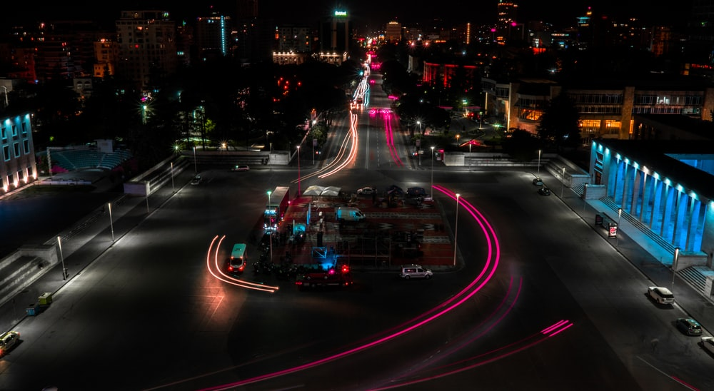 time lapse photography of cars on road