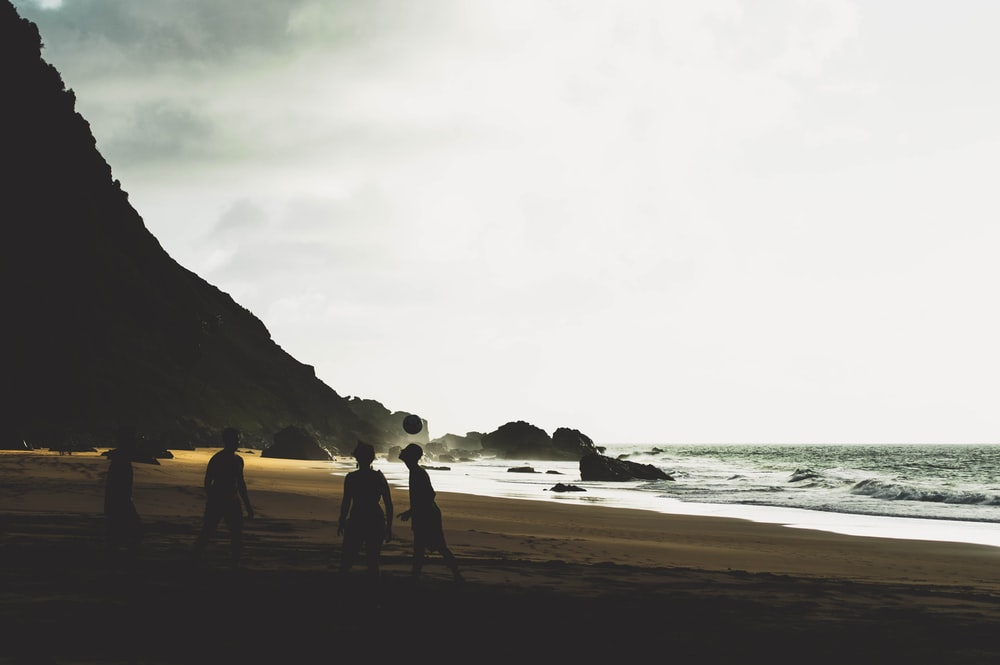 silhouette of people on shore