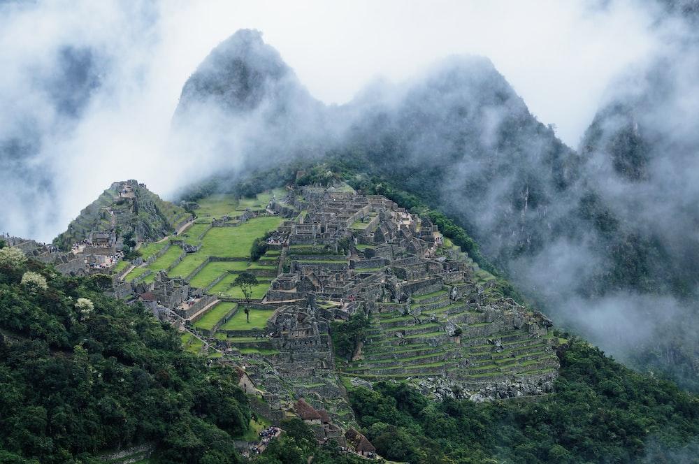 Machu Picchu in Peru covered with fogs