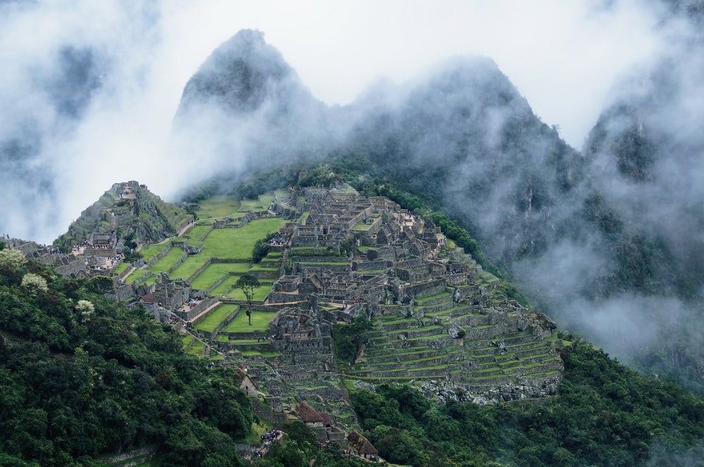 Machu Picchu in Peru covered with fogs