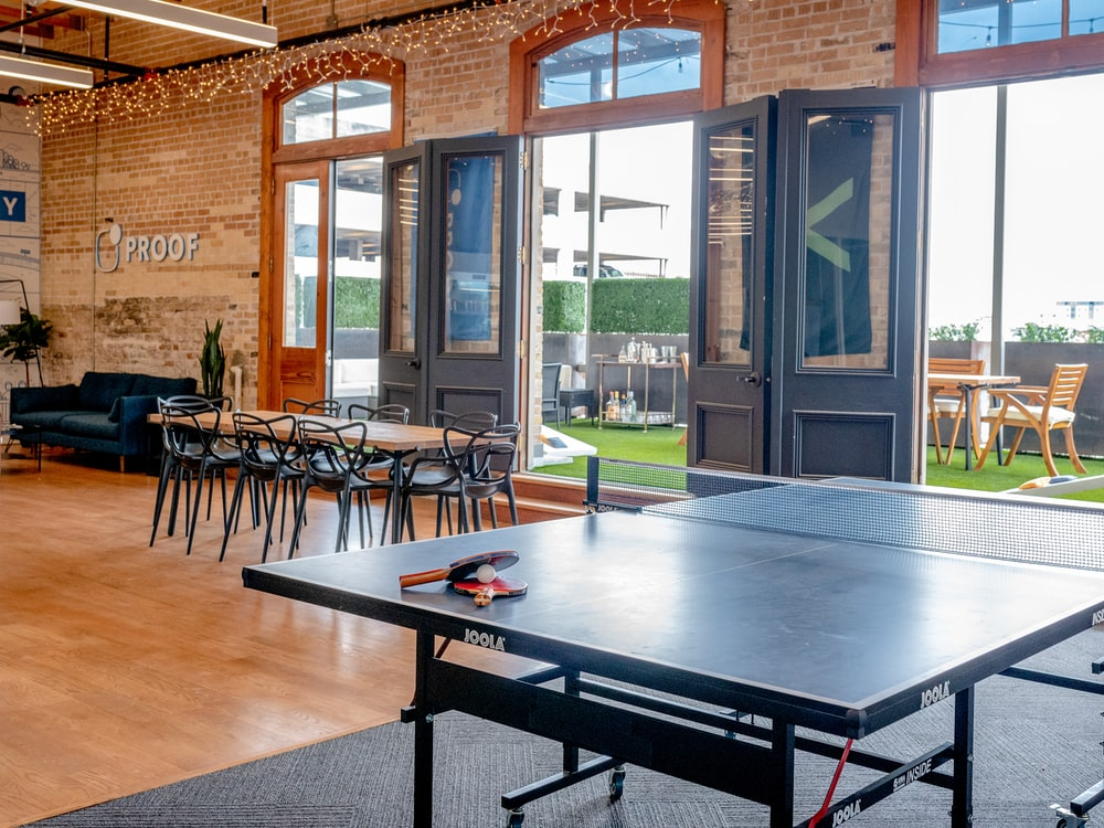 dining set near ping pong table
