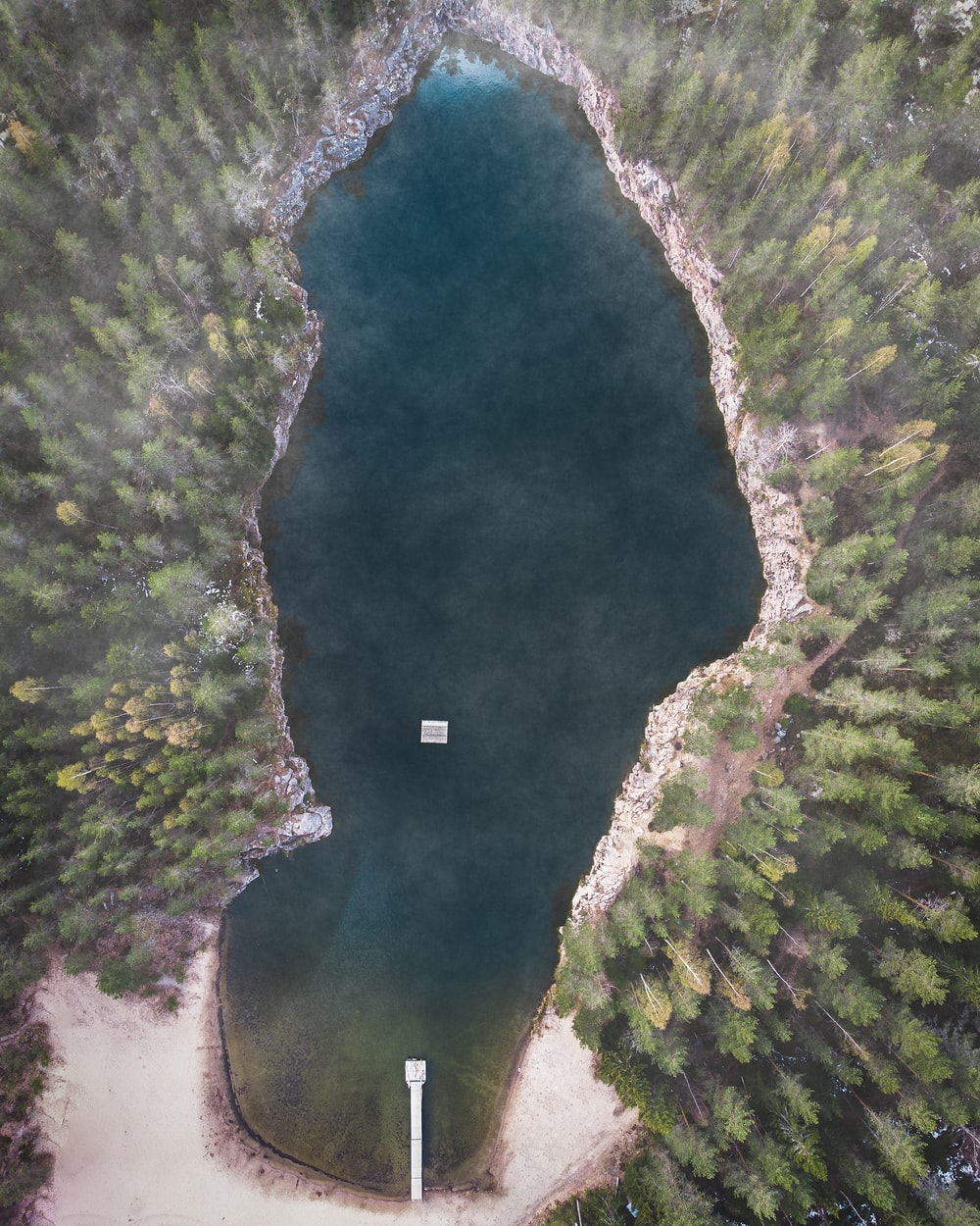 bird's-eye view photography of lake