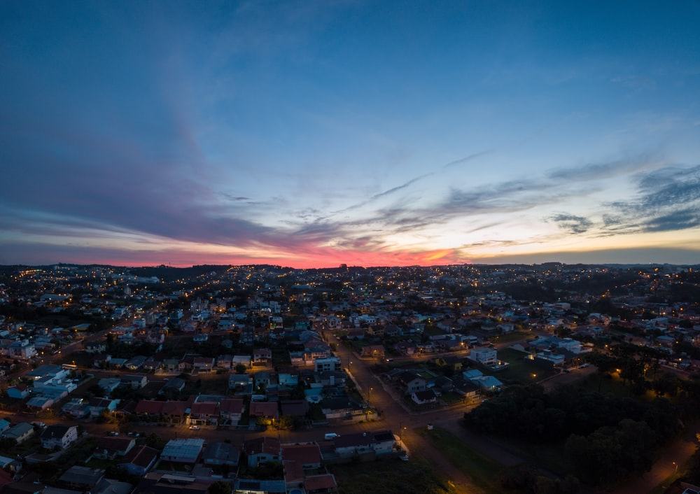high-angle photography of city during sunrise