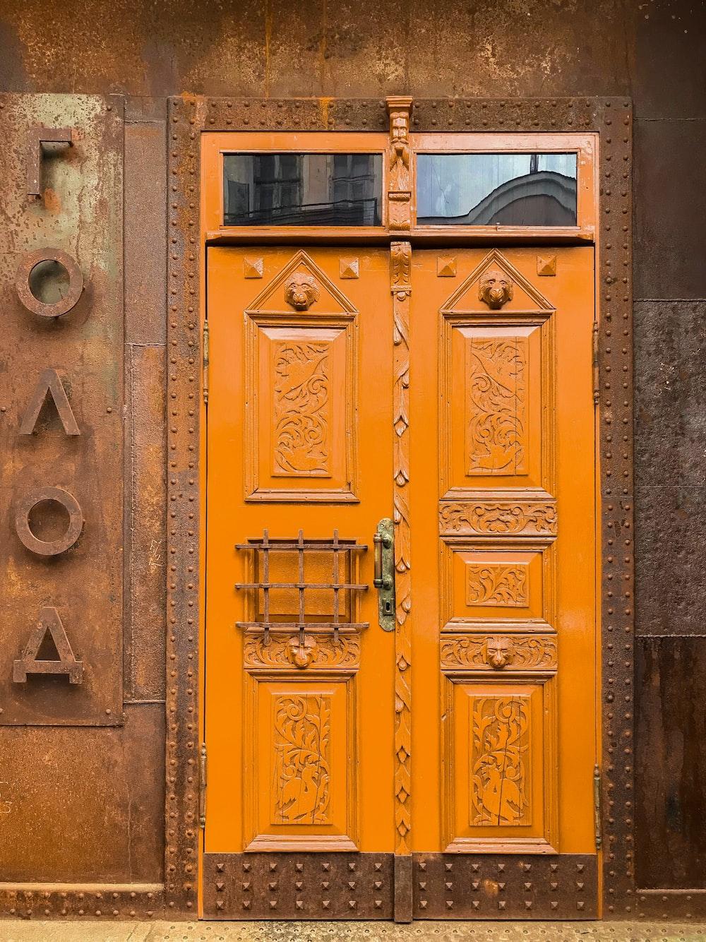 brown wooden door closed