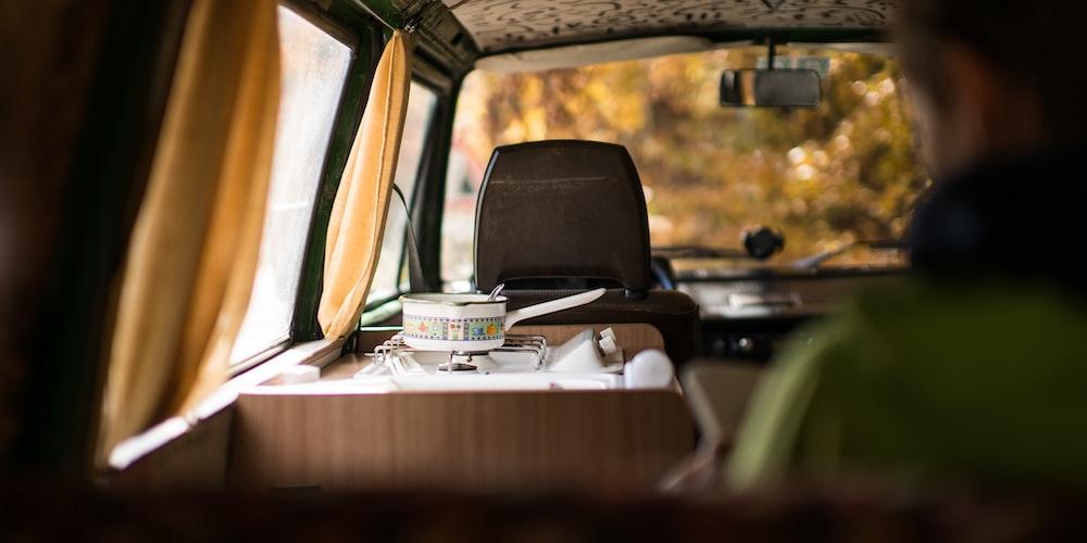 brown and gray van interior