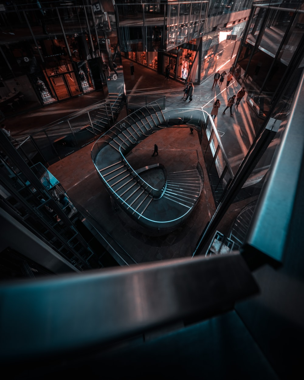 spircal stairs at night time