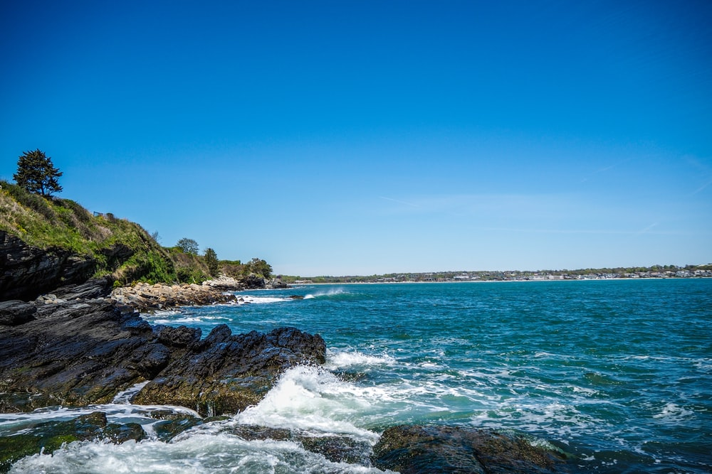 blue ocean near island