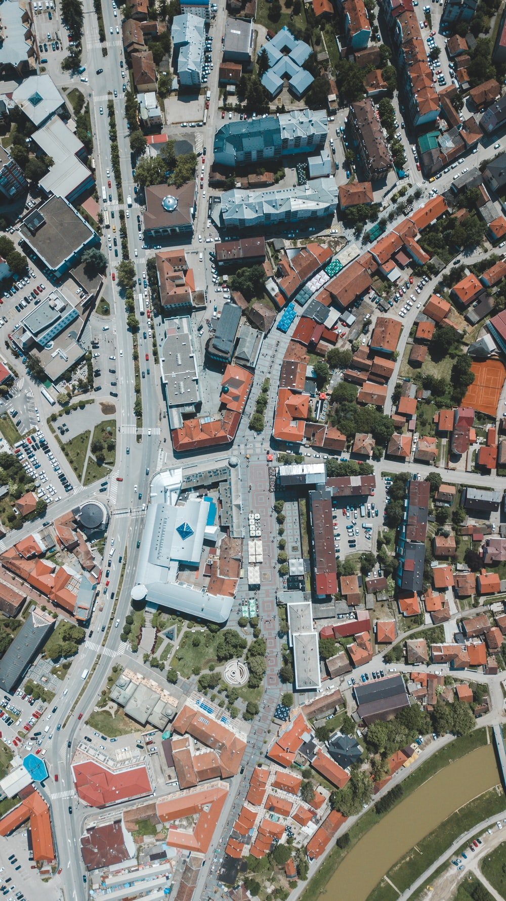 aerial view of streets and houses