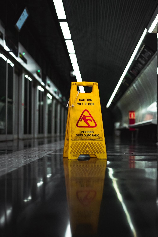 wet floor signage on floor