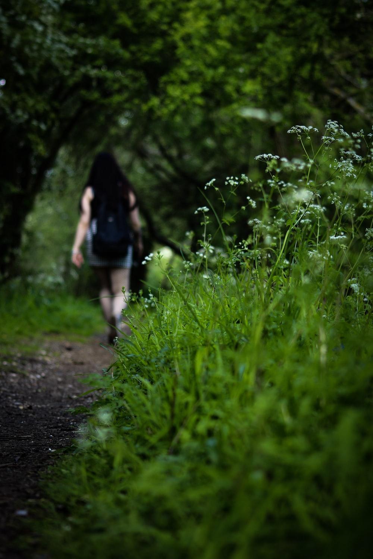 woman with backpack walking on walkway between grasses